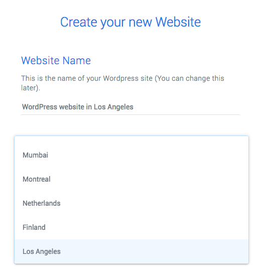 Create a WordPress site on GCP Los Angeles