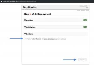 Acceptera Duplicators användarvillkor