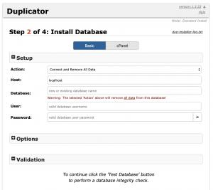 Duplicator: Installera Databas