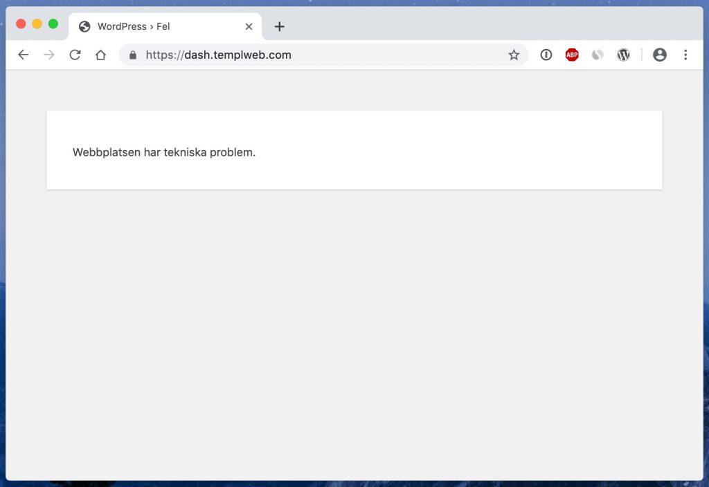 webbplatsen har tekniska problem