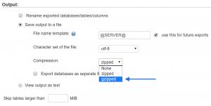 Gzippa Databas vid export