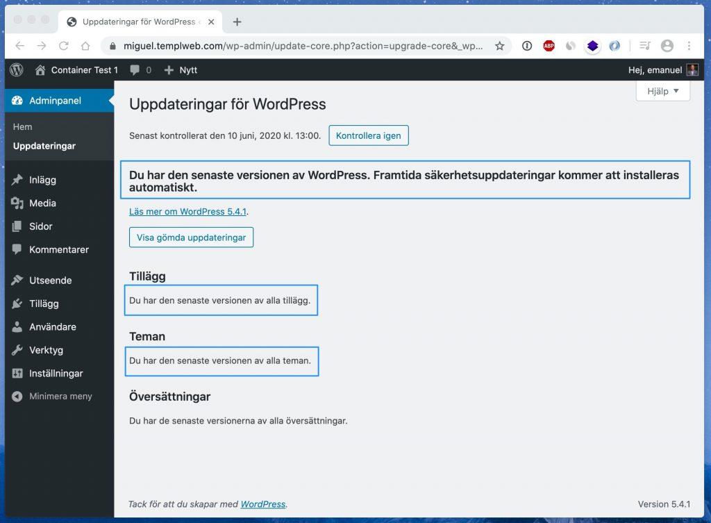 WordPress uppdateringar