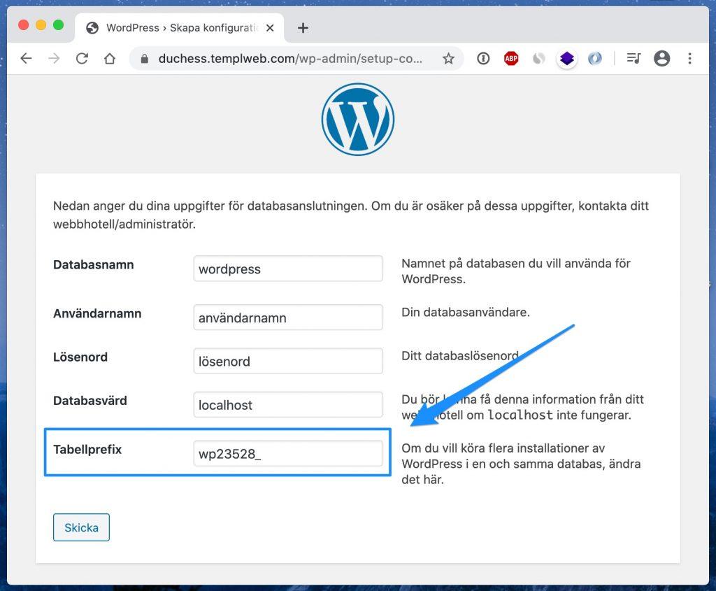 WordPress databasprefix