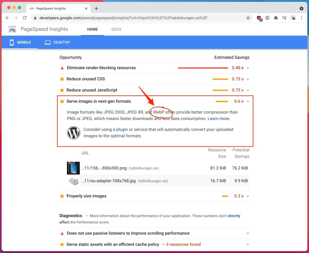 Google PageSpeed Insights recommends WebP