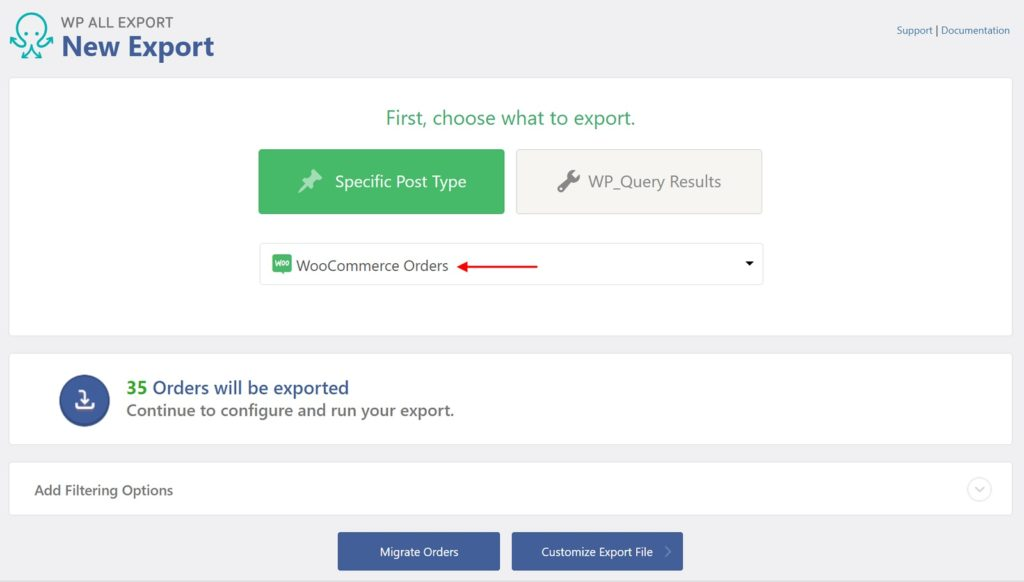 Export orders from WooCommerce