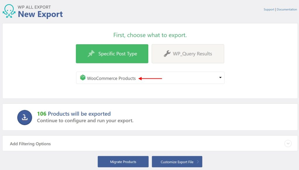 Product export using WP All Export